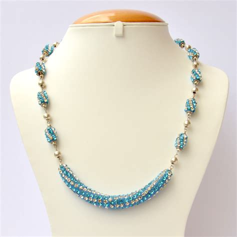 Handmade Necklaces - blue handmade necklace studded with white aqua