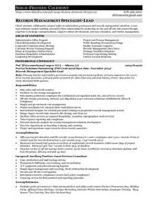 Records Management Resume records management employment resume for serge f clermont