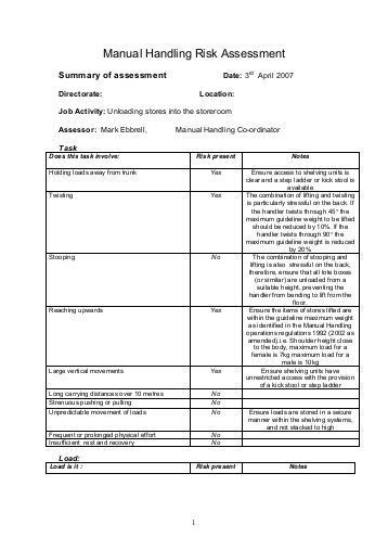 risk assessment for manual handling template archives twrevizion