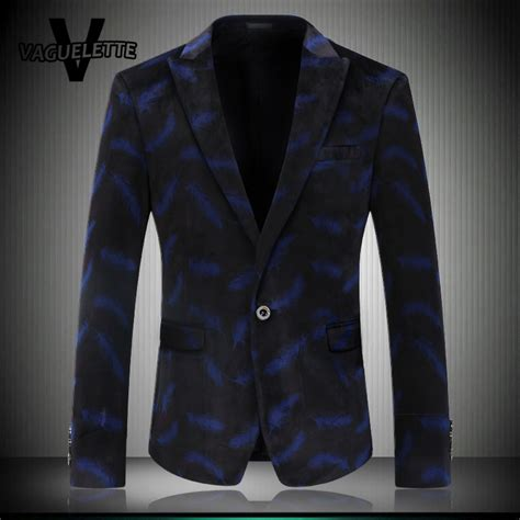 Royal Blue Blazer Jas royal blue mens floral blazer printed peacock feathers fashion stage wear tweed