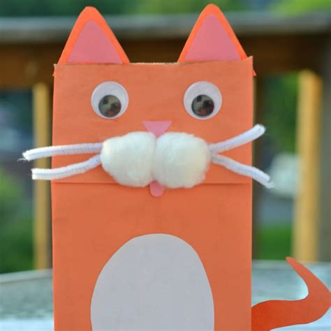 How To Make A Paper Bag Puppet Of A Person - cat paper bag puppet kid craft