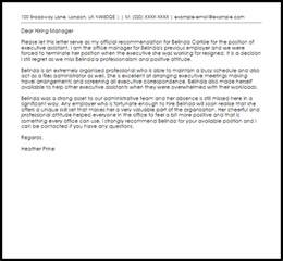 Recommendation Letter Best Sle Executive Assistant Recommendation Letter Sle Livecareer