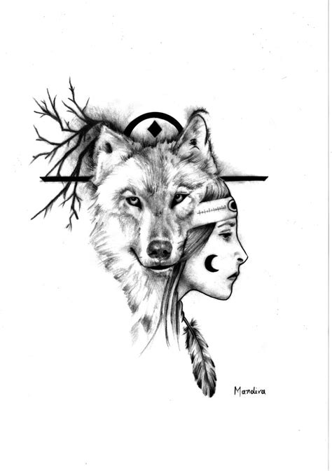 native american wolf tattoo designs american with wolf realistic design by