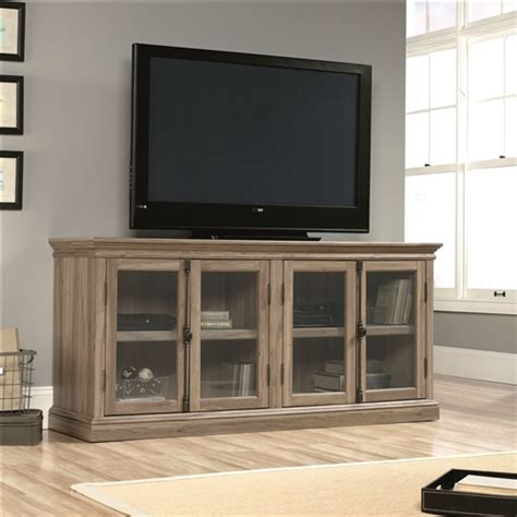 Salt Oak Wood Finish Tv Stand With Tempered Glass Doors Oak Tv Cabinets With Glass Doors