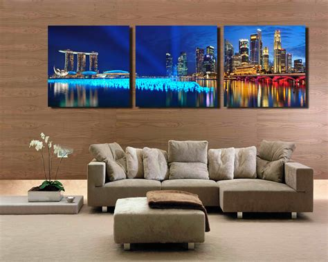 living room canvas 3 panel singapore night scene hd wall art picturetop rated