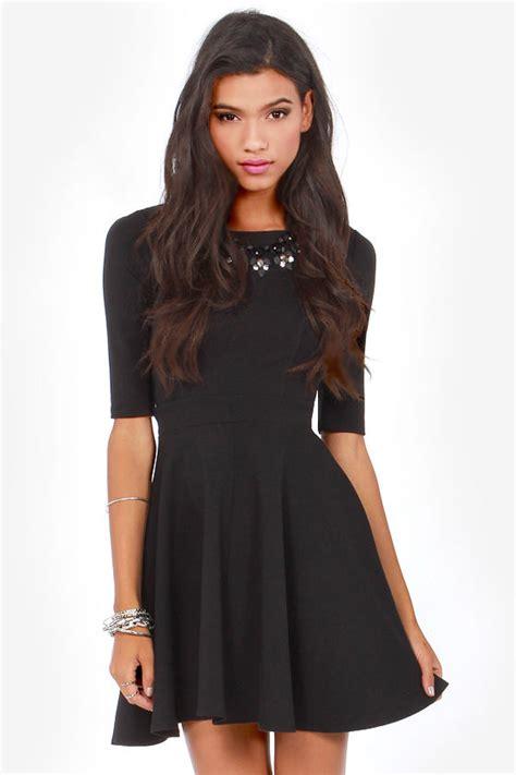 Cute black dress skater dress dress with sleeves 49 00
