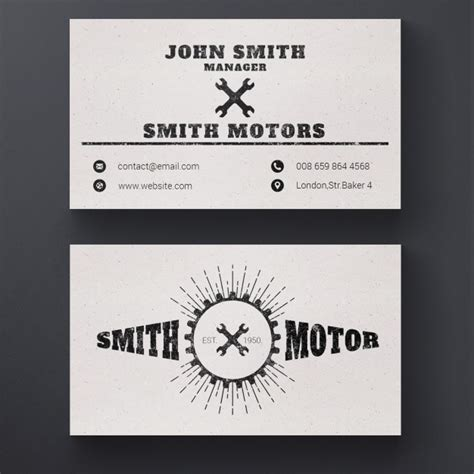 free repair business card template car repair service business card psd file free