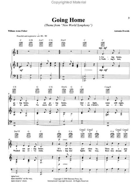 sheet going home piano vocal and guitar