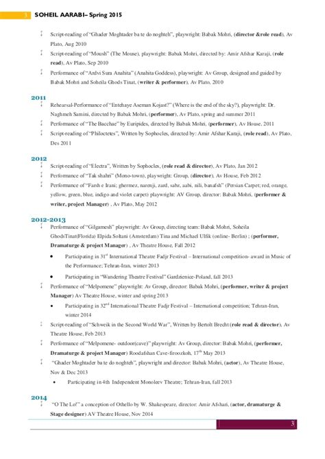 Theatrical Resume by Soheil Aarabi Theatrical Resume May 2015