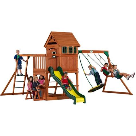 swing academy backyard discovery skyfort ii wooden swing set academy