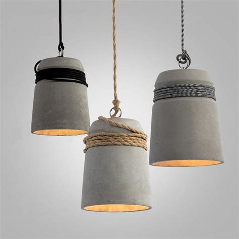 Concrete Cord Wrapped Monolith Minimalist Pendant Light Pendant Light Dubai