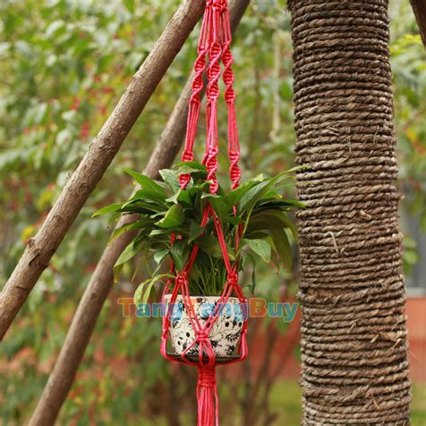 Macrame Cord For Plant Hangers - pot holder hanging basket handcrafted braided macrame cord