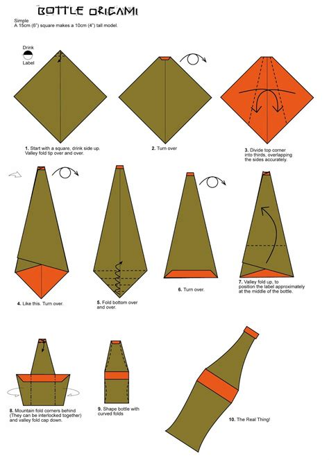 Simple Origami - bottle origami folding diagram paper origami guide