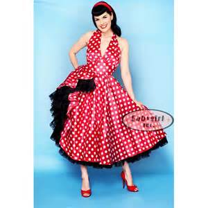 Here comes cookie polka dotted halter swing pin up girl dress photo