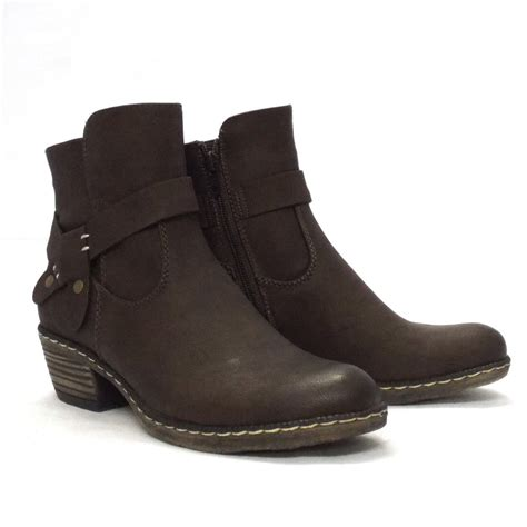rieker kakao brown ankle boots with low heel and