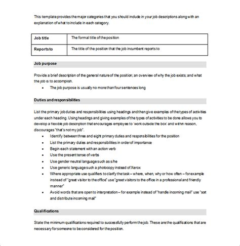 job description template 28 free word excel pdf