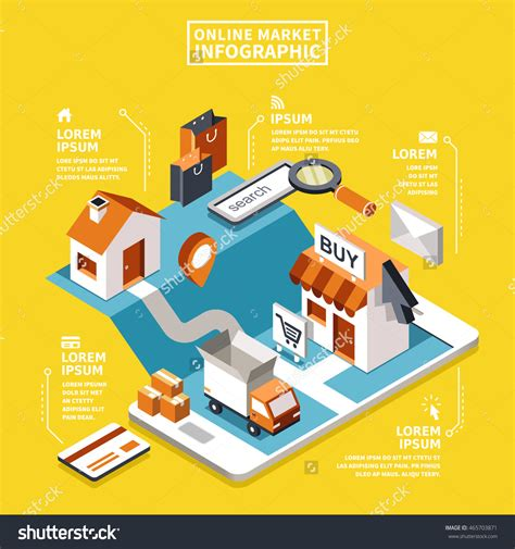 design online market online market concept 3d isometric flat design with device
