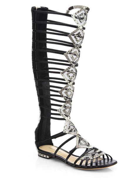 gladiator boot sandals lyst alexandre birman python gladiator knee high sandal