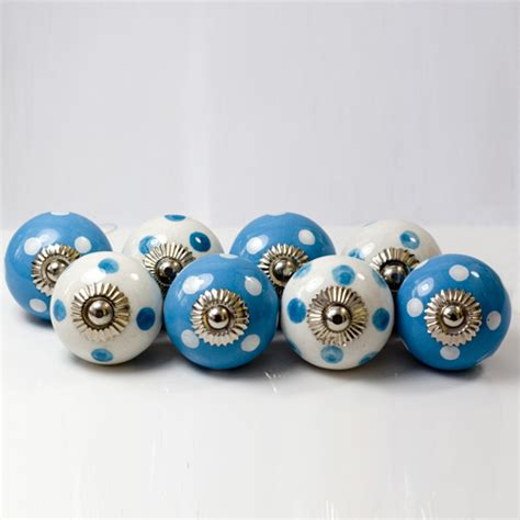 Blue Knobs by Set Of Eight Spotty Blue Knobs