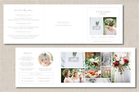 wedding photography price list brochure templates on