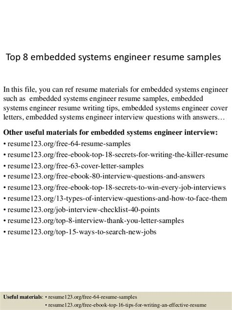 Embedded Engineer Resume Sample by Top 8 Embedded Systems Engineer Resume Samples