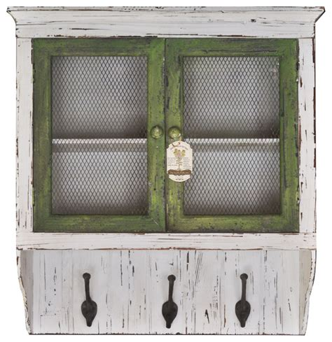 Entryway Wall Cabinet distressed entryway wood wall cabinet with 3 coat hooks white and grey farmhouse wall hooks