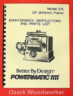 Powermatic Model 15 Planer Instruction Amp Parts Manual 280
