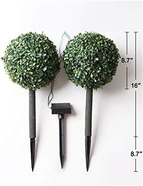 Bright Zeal Set Of 2 Cute Solar Boxwood Topiary Ball Artificial Topiary Trees With Solar Lights