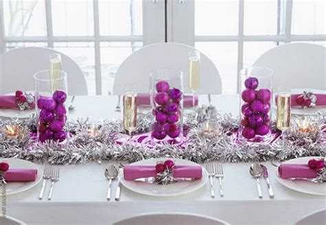 traditional christmas table settings purple and silver