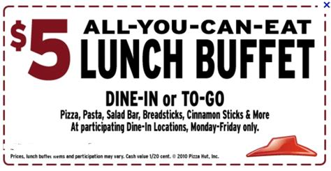 5 all you can eat lunch buffet pizza hut get