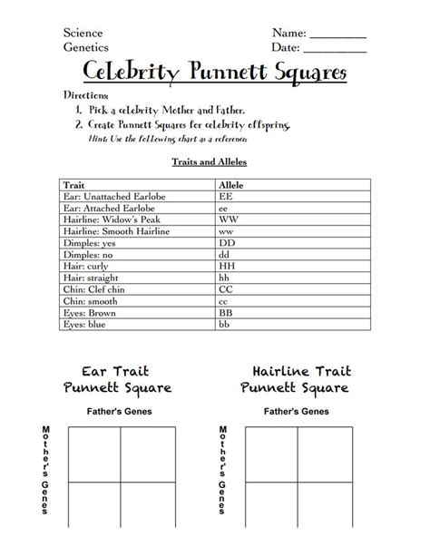 Punnett Squares Worksheet by Punnett Squares Handout Pdf Science 7