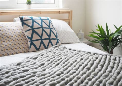 on my bed diy arm knitted cosy chunky blanket step by step guide