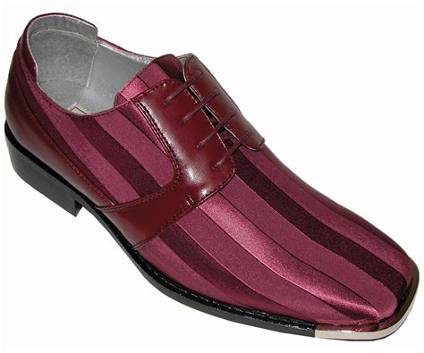 bolano mens burgundy dress oxford silver tip striped satin