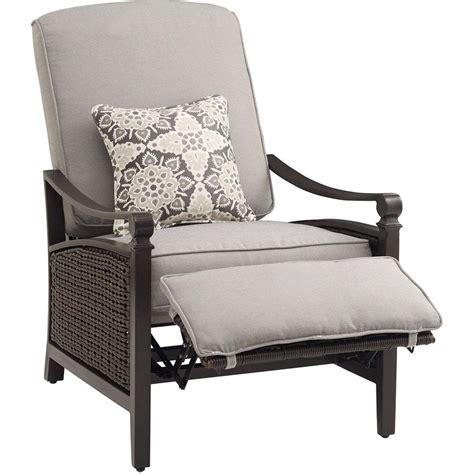 hanover havana brown wicker outdoor recliner  cushions