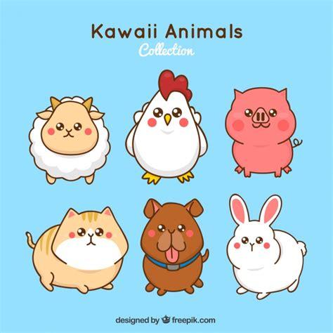 imagenes de animalitos kawaii set de animales de granja kawaii descargar vectores gratis