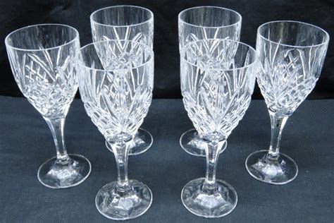 lead crystal barware 6 lead crystal wine glasses goblets stemware cut glass