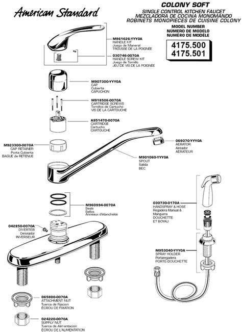 american standard kitchen faucet parts diagram american standard kitchen faucet parts akomunn