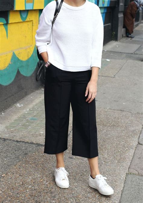 Culotte White white sweater black culottes sneakers addicted to