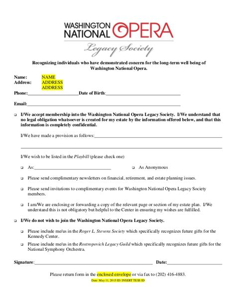 Planned Giving Opera Legacy Society Invite Template Planned Giving Template