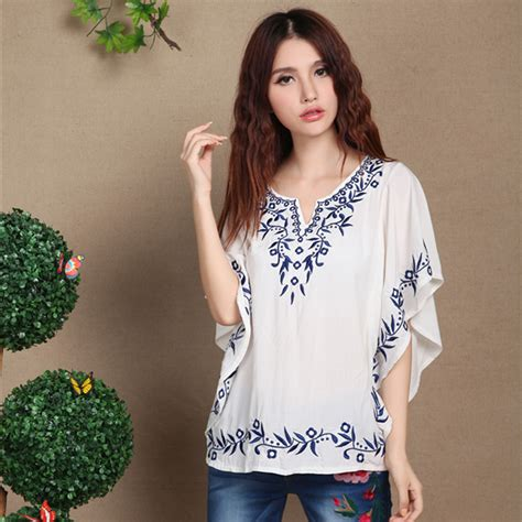 Sale Summer Denim Blouse sale summer new cotton embroidered plus size s sleeve shirt casual peasant