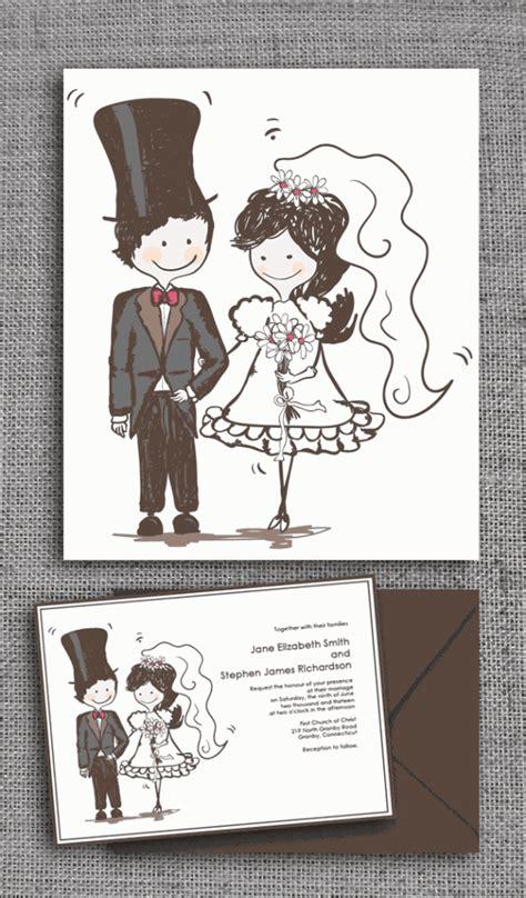 wedding invitations caricature drawing caricature style wedding invitation wedding invitation