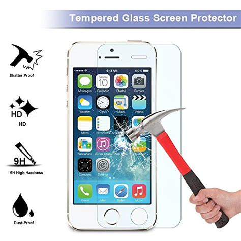 iphone se 5se tempered glass screen protector bovon 9h hardness 0 26 mm hd clear uv resistant
