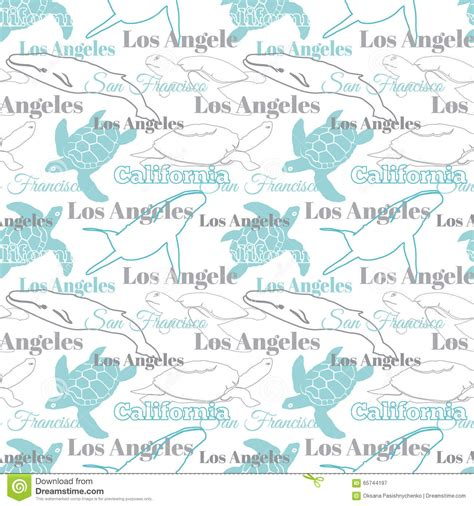 pattern paper los angeles vector light california cities animals travel seamless