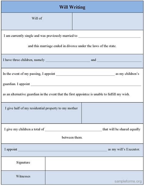 write a will template will writing form sle will writing form sle forms
