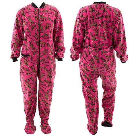 Footed Sleepers For Adults by Lazy One Don T Moose With Me Pink Footed Pajamas For Adults
