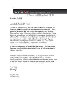 price increase announcement letter swiftspace inc