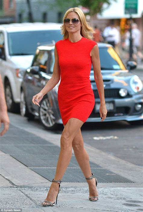 Whos Hotter Will Ferrell Or Heidi Klum by Heidi Klum 41 Is In Clinging Minidress Which
