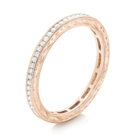 rose gold channel set diamond stackable eternity band