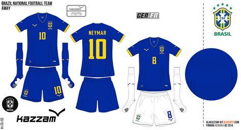 desain jersey warna kuning brazil national football team fantasy away kit kazzam