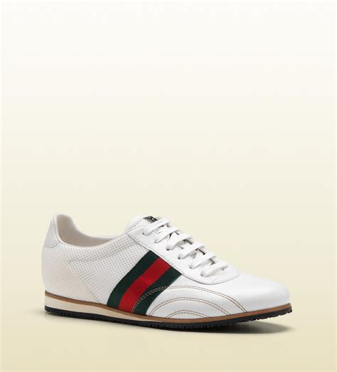 sneakers with mens gucci laceup sneaker with signature web detail in white